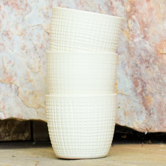 3er-Set Keramik-Übertöpfe 6cm, Vanille | #2