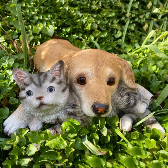 Gartenfigur Süße Freunde, Hund und Katze, ca. 40x40x12 cm | #2