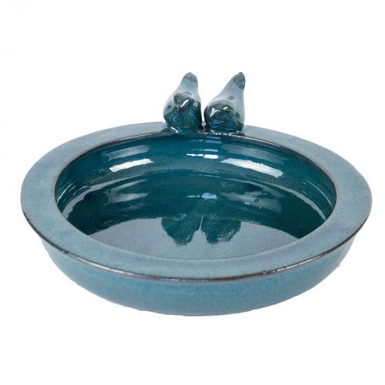 Vogeltränke Paradies, glasierte Keramik,  Petrol, ca. 30 cm | #2