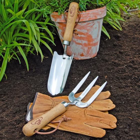 Gartenwerkzeug-Set, Hobbygärtner, Eschenholzstiel, Edelstahl, inkl. Lederhandschuhen | #2