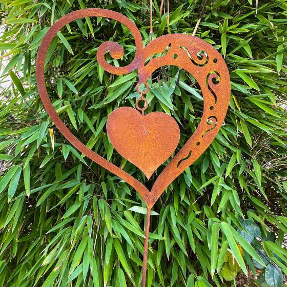 Gartenstecker Herz Sweetheart, Edelrost, 100 cm | #2