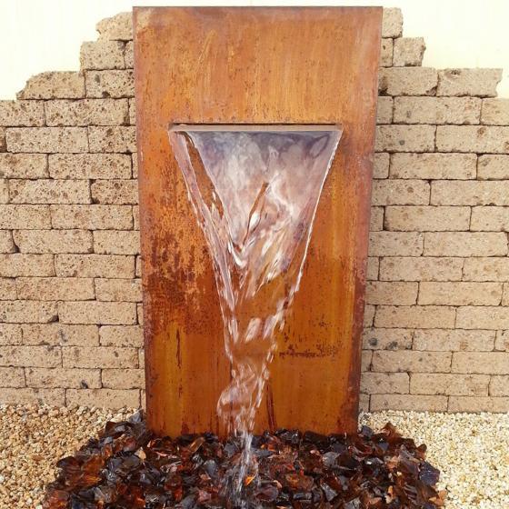 Cortenstahlwand mit Wasserauslauf matt, mit Zubehör, 175x90x30cm | #2