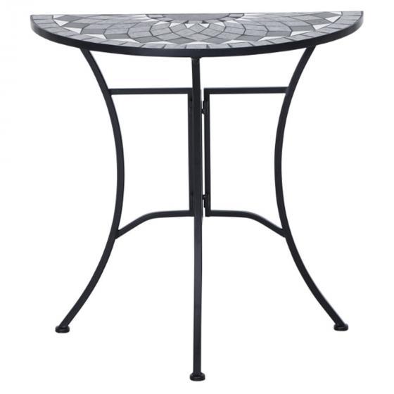 Tisch Mosaik, halbrund, Stahlgestell mit Keramikfläche, ca. 70 x 35 71 cm | #2