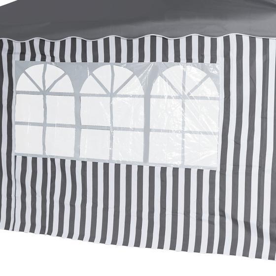 2 Seitenteile für Faltpavillon Classic, mit und ohne Fenster, grau/weiß | #2