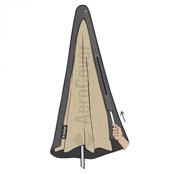 Atmungsaktive Schutzhülle für Ampelschirme mit gebogenem Standrohr | #2