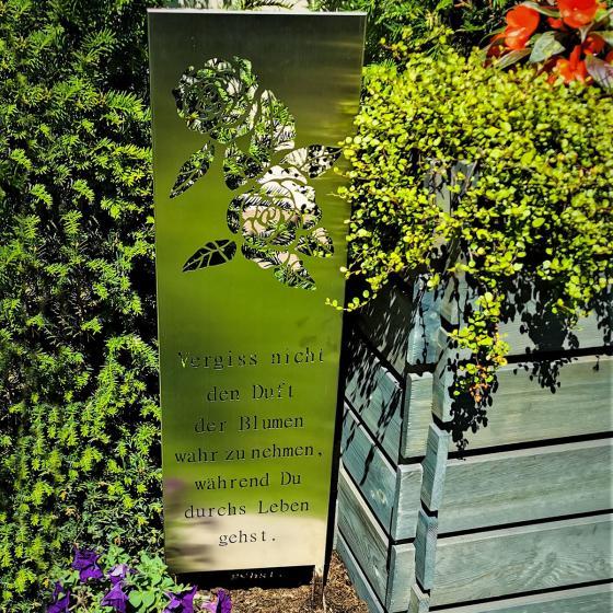 Edelstahl Gartenschild Vergiss nicht den Duft der Blumen | #2