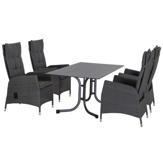 Gartenmöbel-Set Padova mit 4 Dining-Sesseln und Klapptisch, 160x90 cm   #2