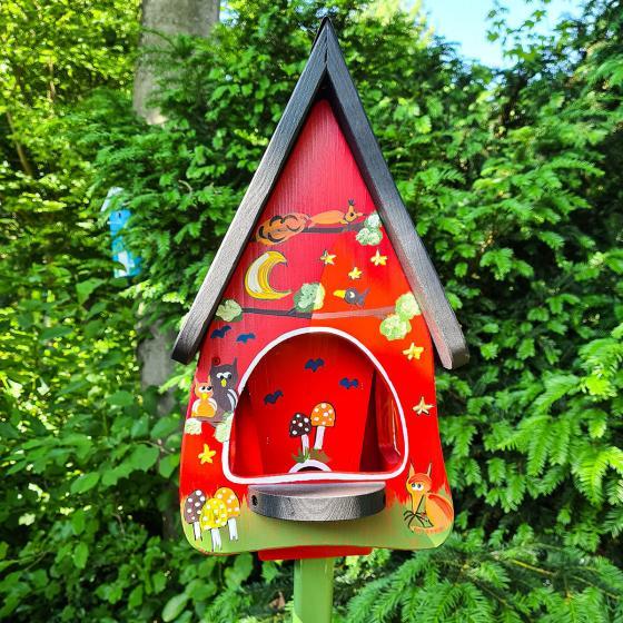 Vogelhaus mit Silo Tiere des Waldes, rot | #2