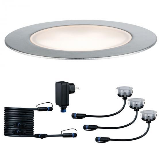 LED Outdoor Plug & Shine Floor Basis-Set, 3000K 3x1,3W  24V IP67, silber   #2