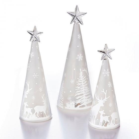 LED-Glaskegel Winterwald, 3er Set   #2