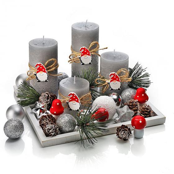 Kerzenset Wichtelfreunde mit 4 Kerzen und Tablett, 20x20 cm | #2