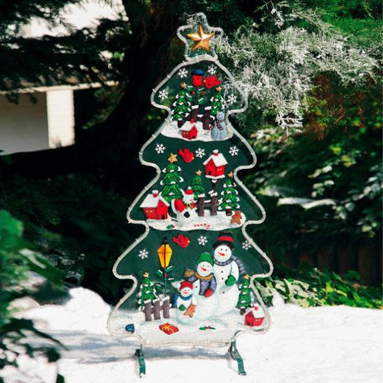 Leucht-Tannenbaum mit Schneemännern, 120x56x27 cm, Eisenblech, bunt | #2