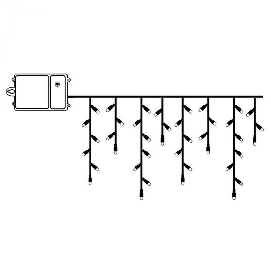 Star Batterie-LED Eiszapfenvorhang 120 LED´s, 230x70 cm, schwarz | #2