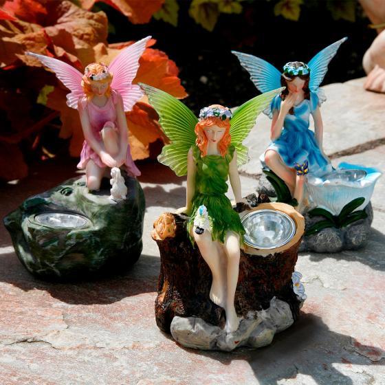 Gartenfiguren Elfen, 3er-Set mit Solar-LED-Lampen | #2