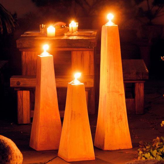 Terracotta-Pyramiden-Öllampen, 3er-Set (3 Größen) | #2