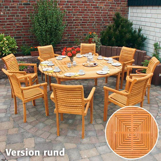 TEAK-Drei-in-Eins-Tisch (rund, oval & quadratisch) | #2