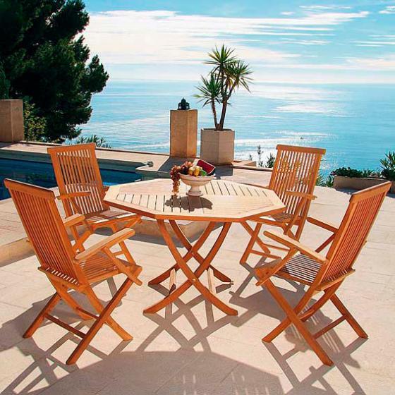 TEAK-Sitzgruppe Elegance (4Stühle + Achteck-Tisch) | #2