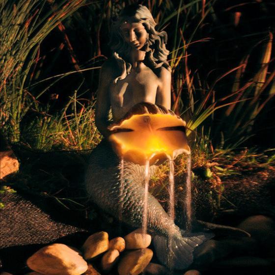 Wasserspiel Meerjungfrau, 105x45x57cm, Kunststein, bronze | #2