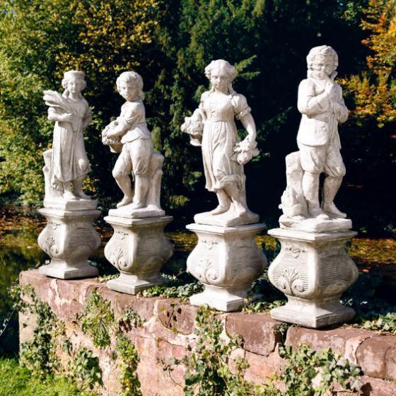 Vierjahreszeiten - Steinfigur Winter auf Säule | #2