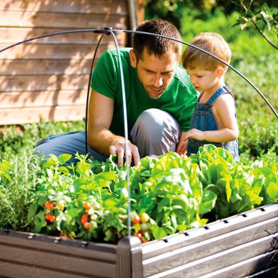 Gartenhochbeet, Kunststoff, braun, 99,5x99,5x30 cm | #2