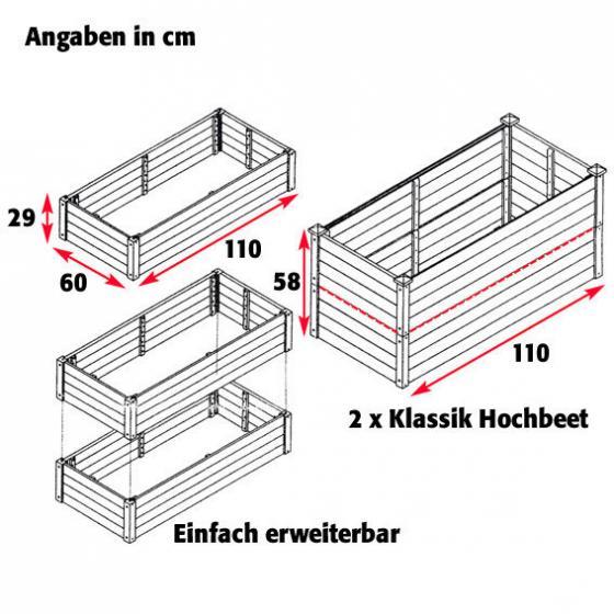 Hochbeet Klassik rechteckig - stapelbar, Akazienholz, anthrazit, 110c60x29 cm | #2
