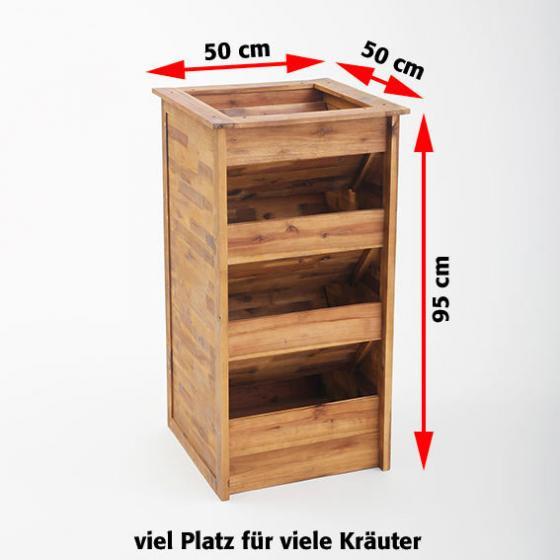 Hochbeet Kräuterturm aus Akazienholz, 50x50x95 cm | #2