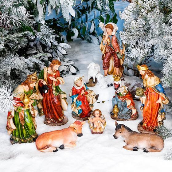 Außen-Krippenfiguren, Set Heilige Familie, Polyresin, bunt | #3