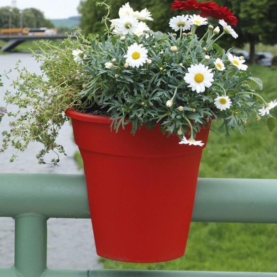 Geländertopf Flowerclip, 27 cm, rot | #3