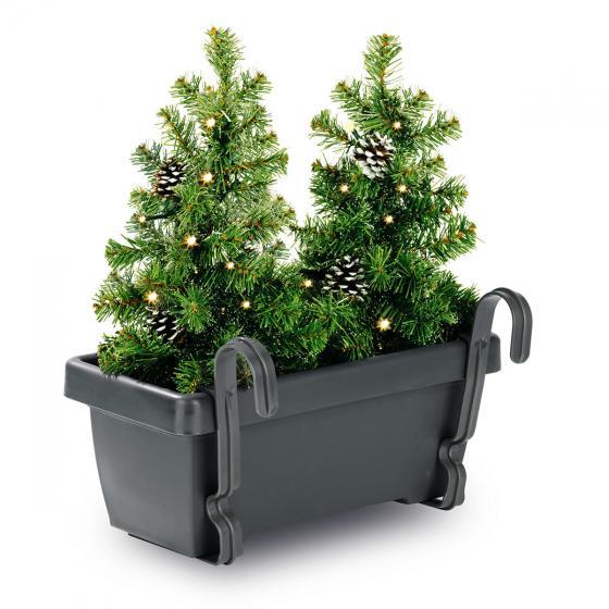 Blumenkasten mit LED-Tannenbäumen, 43x40x20 cm, Kunststoff, grau grün | #3