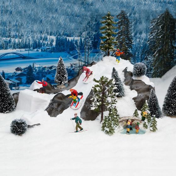 Miniatur-Weihnachtsdorf Waldteich mit Eisläufern | #3