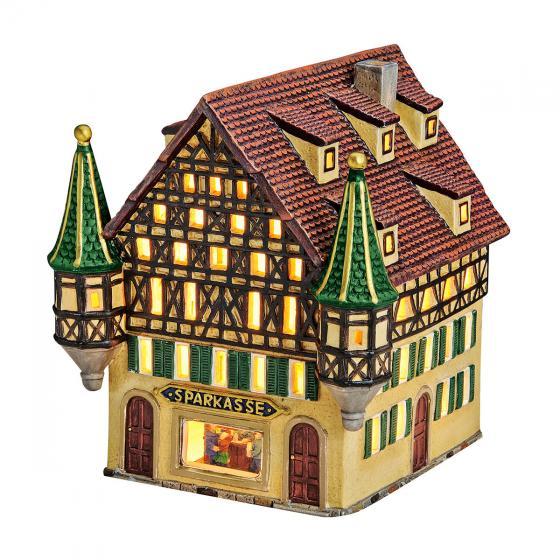 Miniatur-Weihnachtsdorf-Lichthaus Sparkasse | #3
