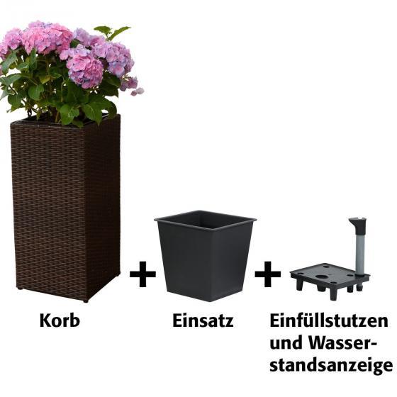 Outdoor-Rattan-Pflanzkübel mit Bewässerungssystem, 64x31x31 cm, kaffee braun | #3