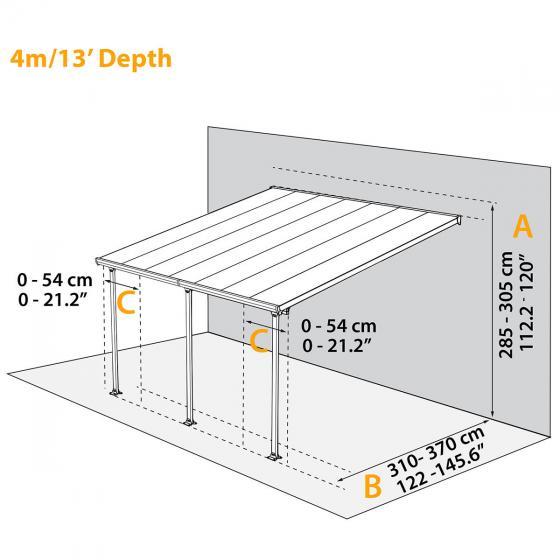 Terrassenüberdachung Feria, Aluminium pulverbeschichtet, ca. 425 x 395 x 305 cm | #3