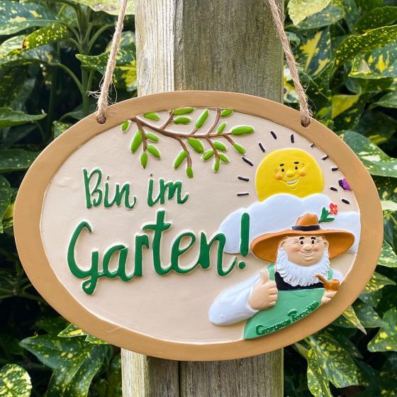 "Gartenschild ""Bin im Garten"" | #3"