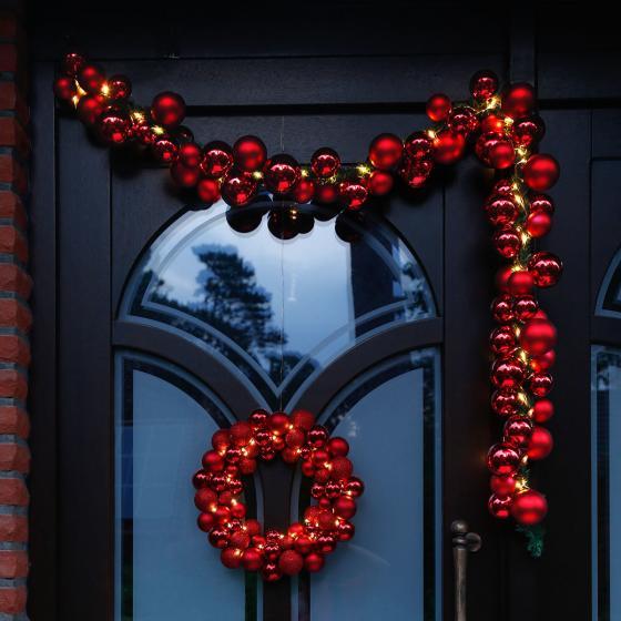 LED-Türkranz Christmas Time, 36 cm, Kunststoff, rot | #3