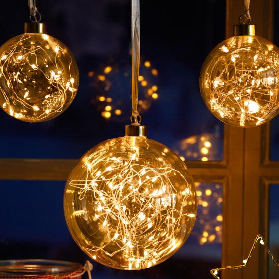 Star LED-Glaskugel Golden Glow, 10x10x10 cm, Glas, klar | #3