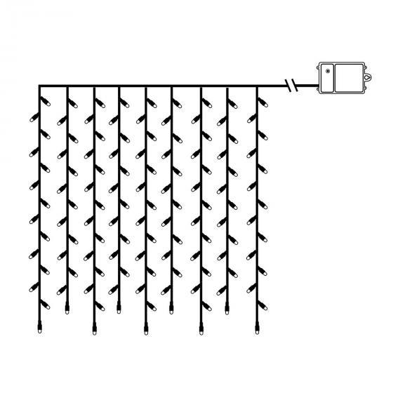 Star Batterie-LED-Lichtervorhang 120 LED´s, 110x100 cm, schwarz | #3