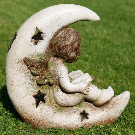 Gartenfigur Mondschein mit LED Licht, 42x28x42 cm, Fiberglas, grau | #3