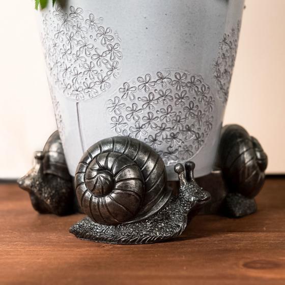 Kübelfuß Bronzeoptik 3er-Set Schneckchen, 5,5x6,5x8,5 cm | #3