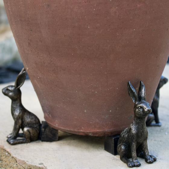 Kübelfuß Bronzeoptik 3er-Set Häschen, 7x3,5x8 cm | #3