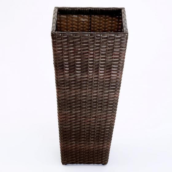 Outdoor-Rattan-Pflanzkübel mit Bewässerungssystem, konisch, 64x31x31 cm, kaffee braun | #3