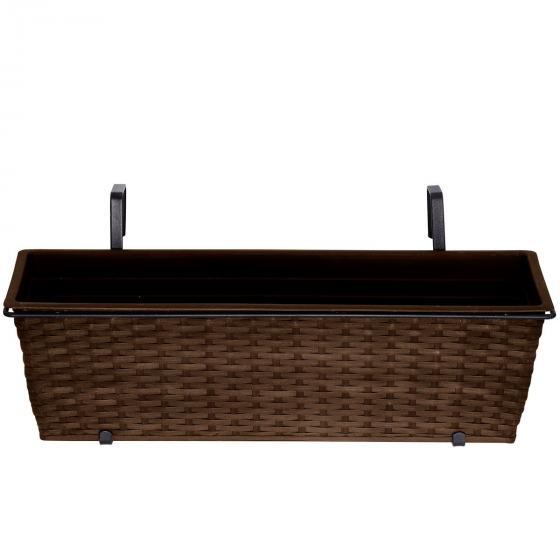 Outdoor-Rattan-Balkonkasten mit Bewässerungssystem, 19x60x19 cm, kaffee braun | #3
