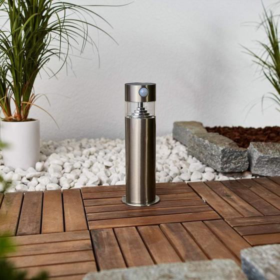 Solar-LED-Sockelleuchte Kalypso mit Bewegungsmelder, 30x7,6x7,6 cm, Edelstahl, silber | #3