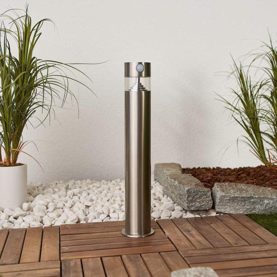Solar-LED-Sockelleuchte Kalypso mit Bewegungsmelder, 50x7,8x7,8 cm, Edelstahl, silber | #3