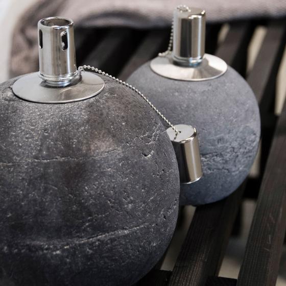 Tischöllampe Stone, 17x14x14 cm, Beton, Edelstahl, grau | #3