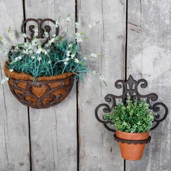 Pflanztopfhalter Lilie, 32x30x17 cm, Gusseisen, braun | #3