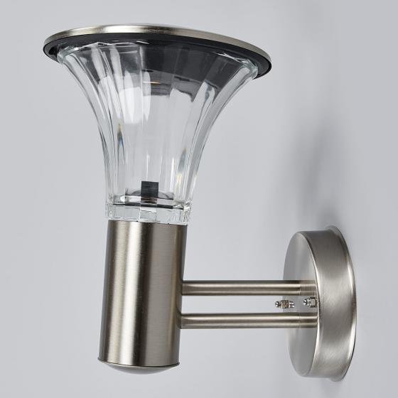 Solar-LED-Außenwandleuchte Eileen, 25x17x23 cm, Edelstahl, silber | #3
