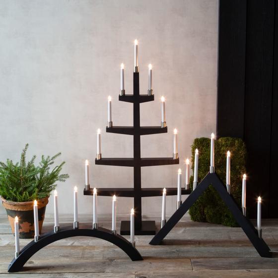 LED-Fensterleuchter Tall A, 66x63x7 cm, Holz, schwarz | #3