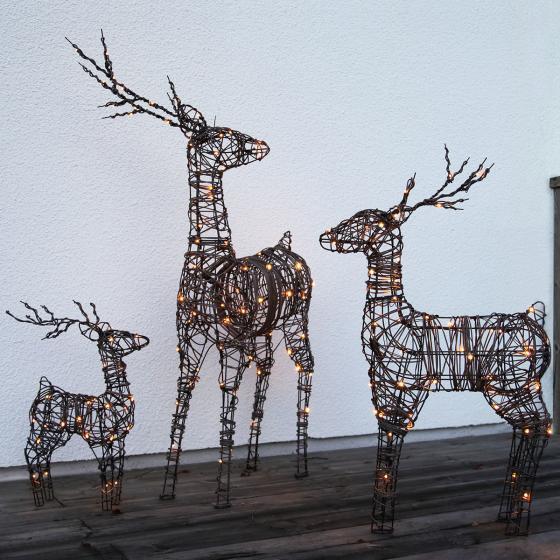 LED-Outdoor-Rattan-Rentier Lotti, 12x36x55 cm, Metallgestell, braun | #3