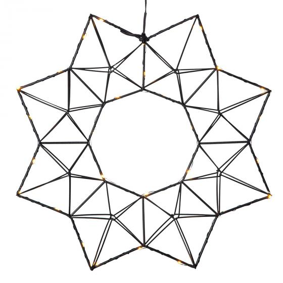 Star LED-Leuchtstern Modern Christmas, 38x38x7 cm, Metall, schwarz | #3